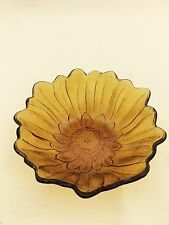 Vintage Amber Sun Flower Pressed Glass Candy Dish Decorative Bowl 7""