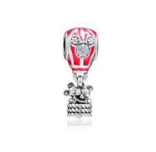 925 Sterling Silver Mickey Mouse True Love Hot Air Balloon Charm