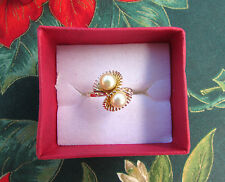 14K Gold High Quality AAA Cultured Freshwater Pearl Bypass Ring Size 7 Ring