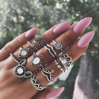 12Pcs/Set Bohemian Vintage Women Punk Crown Finger Knuckle Silver Ring JewePL
