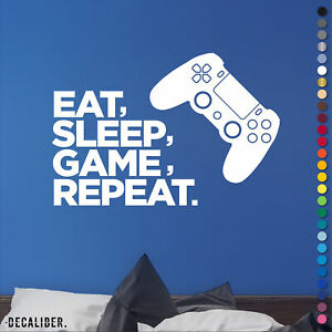 PS4 PlayStation Eat Sleep Game Repeat Sticker Decal Wall Art Bedroom Gaming