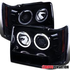 For 1993-1996 Jeep Grand Cherokee Glossy Black Smoke Halo Projector Headlights