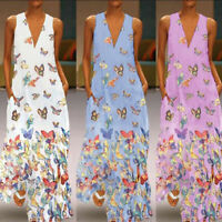 2019 Women Butterfly Print V Neck Vest Sundress Party Evening Long Maxi Dress