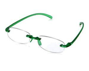 Lesebrille randlos dunkelgrün Stärke +2,00 Lesehilfe  Bohrbrille leicht