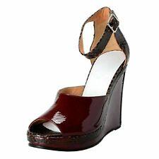 Maison Margiela 22 Mujer Python Piel Burdeos Abierto Cuñas Zapatos US 6 It 37