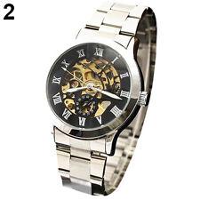Men Luxury Roman Numerals Tungsten Steel Mechanical Skeleton Wrist Watch Eyeful