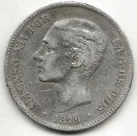 Alfonso XII 5 Pesetas 1879 EMM @ Bella @