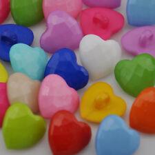 100x 14mm Cute Heart Plastic Button lot Mix color PT51