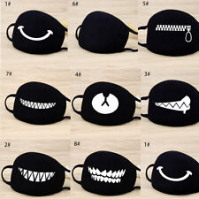 Cartoon Face Mask Cover Funny Unisex Teeth Mouth Black Cotton Printed Washable-