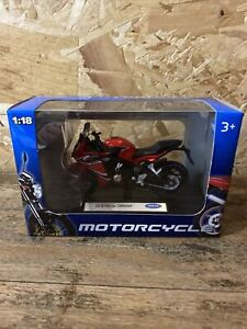 2018 HONDA CBR650F IN RED, BY WELLY @ 1/18th SCALE. DIE CAST METAL