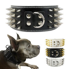 Spiked Studded Dog Collar 3''Wide Medium Large Adjustable Pitbull Doberman Black