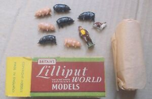 Britains Lilliput World, Farmer with 6 pigs Boxed suits Wardie Hornby Dublo TRIX