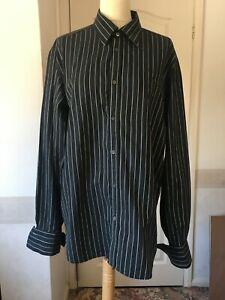 Ted Baker black shirt 4 pinstripe cotton cufflinks