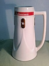 Vintage BUDWEISER  Mug Stein 1960s Cream  Ceramic 16oz Gold Anheuser Logo