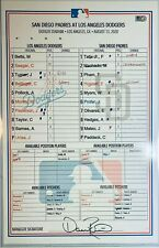 2020 MOOKIE BETTS Historic 6x 3-HR GAME USED Dugout Lineup Card 8/13/20 Auto