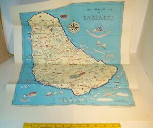 Original 1946 Pictorial Illustrated Souvenir Map Of Barbados Printed In Scotland