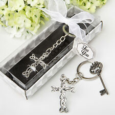 50 Silver Cross Key Chain Baptismal Favors Communion Wedding Christening Favor