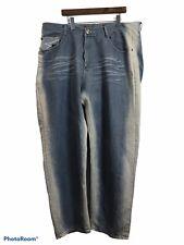 Diamond Stash Men's Denim Blue Jeans 44x32 Bleach Washed Straight Leg Distressed