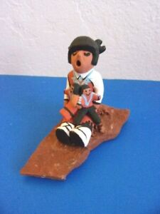 Native American Storyteller Pottery Figurine with Two Children on Slate Base