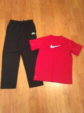 Nike Dri Fit Boys Youth Athletic Pants And Tshirt Black Red Size L