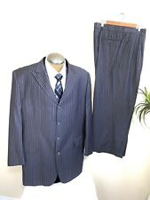 Vitali Mens 3 Piece Suite Gray Pinstripe 48R Tailored to 46R Vest Pants 42x28