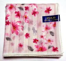 POLO Ralph Lauren Handkerchief hanky scarf bandana Pink Flower Auth New