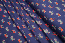 Jersey Tractor on blue Cotton Jersey Knit Fabric 0.54yd (0,5m)