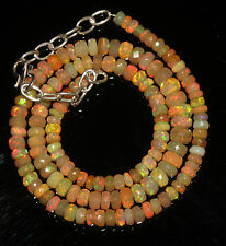 """62 Crts 4 to 6 mm 16"""" Faceted Beads necklace Ethiopian Welo Fire Opal 94605"""