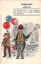 POSTCARD   COMIC   ADDED  ADS   AERONAUTS  City  Gent  Balloons