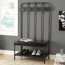Entryway Hall Coat Rack Storage Shoe Bench Padded Faux Leather Seat Hooks Gray