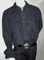 NEW Game of Thrones Men's Black Ruffle Frill Cotton Shirt, XL