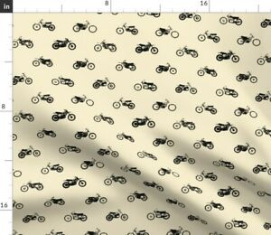 Classic Cream Motorcycle Retro Vintage Stripes Spoonflower Fabric by the Yard