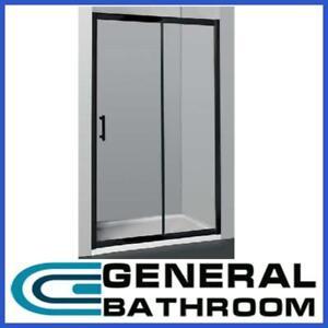 Black Wall to Wall Sliding Door Shower Screen Adjustable 1300-1500mm