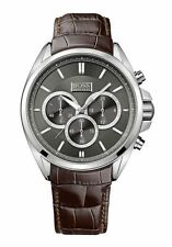 Hugo Boss 1513035 Men's Drivers Chronograph Stainless Steel Brown Leather Watch