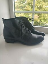 Office Black Leather Lace Up Granny Ankle Boots Size 7-7.5 Very Good Condition
