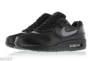 NEW Nike Air Max 1 GS Junior Kids Boys Running Sports Gym Shoes Trainers - Black
