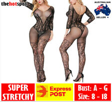 5e5eaf4642a51 Sexy Body Stocking Lingerie Plus Size Fishnet Mesh Erotic Bodysuit Open  Crotch