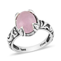 925 Sterling Silver Pink Jade Solitaire Ring Jewelry For Her Size 8 Ct 2.9