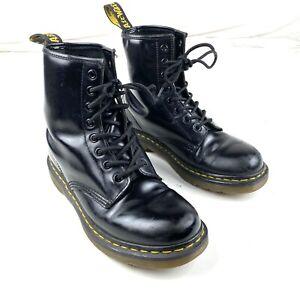 Doc Dr Martens Airwair Black Combat Boots Size L 8 EUR 39 Patent Leather