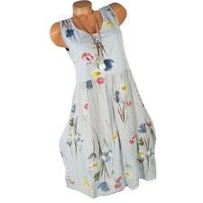 Women's Summer Casual O-Neck Dress Floral Print Sleeveless Mini Sundress Plus CA