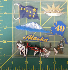 Acid Free 3D Alaska scrap book Stickers - gold pan, flag, dog team & musher