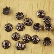 70pcs antiqued copper-tone flower bead caps h2235