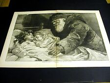 The Christmas Letter CHILDHOOD FAITH in SANTA CLAUS 1887 Large Folio Engraving