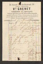 """PARIS (XI°) PORCELAINE CRISTAL FAIENCE VERRERIE , ART MENAGER """"Vve GRENET"""" 1872"""