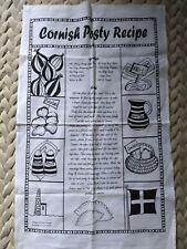 TEA TOWEL Cornish Pasty recipe CORNWALL Black & White