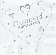 18 x DIAMOND ANNIVERSARY NAPKINS 33cm 2ply 60 YEARS 60th PARTY TABLEWARE WEDDING