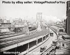 Antique/Vintage/Old 1903 New York City Brooklyn Bridge Street Car Train Photo