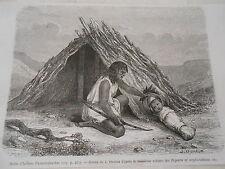 Amérique du Nord Hutte d'Indiens Chimehwhuebes Gravure 1876