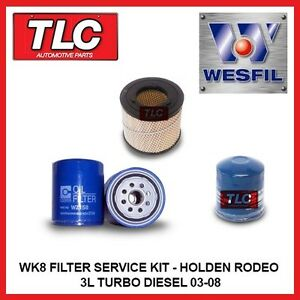 WK8 Air Oil Fuel Filter Kit - Holden Rodeo RA 3.0L Turbo Diesel 03/03-08 4JH1-TC