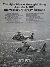 10/1975 PUB AGUSTA HELICOPTER A 109 HUBSCHRAUBER HELICOPTERE ORIGINAL AD